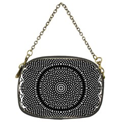 Black Lace Kaleidoscope On White Chain Purses (two Sides)