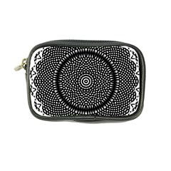 Black Lace Kaleidoscope On White Coin Purse