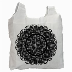 Black Lace Kaleidoscope On White Recycle Bag (One Side)