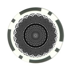 Black Lace Kaleidoscope On White Poker Chip Card Guard (10 pack)