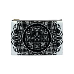 Black Lace Kaleidoscope On White Cosmetic Bag (medium)