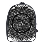 Black Lace Kaleidoscope On White School Bags(Large)  Front