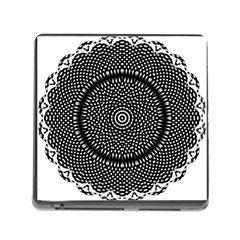 Black Lace Kaleidoscope On White Memory Card Reader (square)