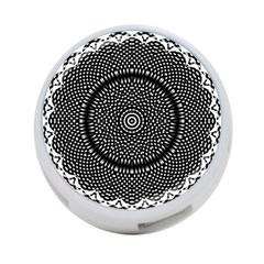 Black Lace Kaleidoscope On White 4 Port Usb Hub (two Sides)