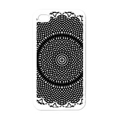 Black Lace Kaleidoscope On White Apple Iphone 4 Case (white)