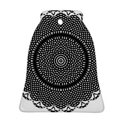 Black Lace Kaleidoscope On White Ornament (Bell)