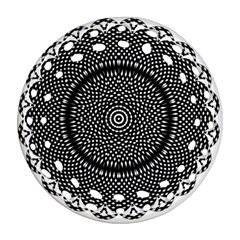 Black Lace Kaleidoscope On White Round Filigree Ornament (two Sides)