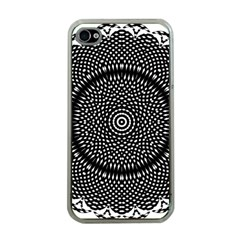 Black Lace Kaleidoscope On White Apple iPhone 4 Case (Clear)