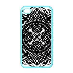 Black Lace Kaleidoscope On White Apple Iphone 4 Case (color)