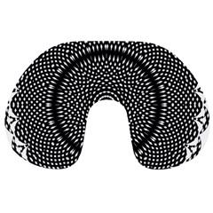 Black Lace Kaleidoscope On White Travel Neck Pillows