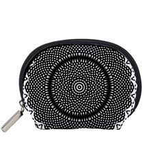 Black Lace Kaleidoscope On White Accessory Pouches (small)