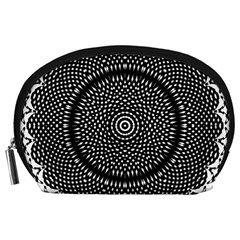 Black Lace Kaleidoscope On White Accessory Pouches (Large)