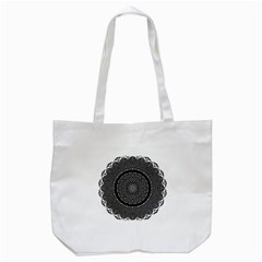 Black Lace Kaleidoscope On White Tote Bag (white)
