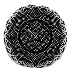 Black Lace Kaleidoscope On White Large 18  Premium Flano Round Cushions
