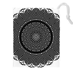 Black Lace Kaleidoscope On White Drawstring Pouches (xxl)