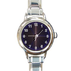 Color Fractal Symmetric Blue Circle Round Italian Charm Watch