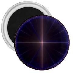 Color Fractal Symmetric Blue Circle 3  Magnets