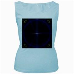 Color Fractal Symmetric Blue Circle Women s Baby Blue Tank Top