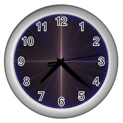 Color Fractal Symmetric Blue Circle Wall Clocks (silver)