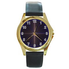 Color Fractal Symmetric Blue Circle Round Gold Metal Watch