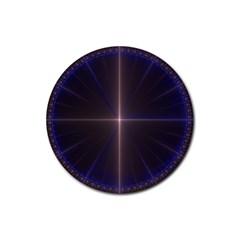 Color Fractal Symmetric Blue Circle Rubber Coaster (round)