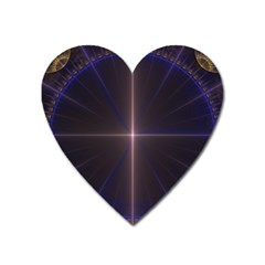 Color Fractal Symmetric Blue Circle Heart Magnet