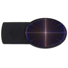 Color Fractal Symmetric Blue Circle USB Flash Drive Oval (2 GB)