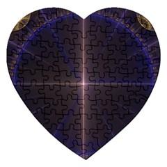Color Fractal Symmetric Blue Circle Jigsaw Puzzle (heart)