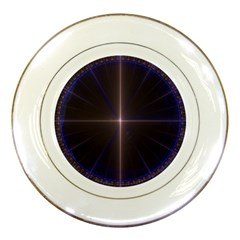 Color Fractal Symmetric Blue Circle Porcelain Plates