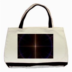 Color Fractal Symmetric Blue Circle Basic Tote Bag