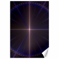 Color Fractal Symmetric Blue Circle Canvas 12  X 18