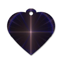 Color Fractal Symmetric Blue Circle Dog Tag Heart (two Sides)