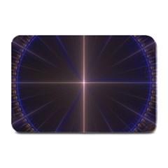 Color Fractal Symmetric Blue Circle Plate Mats