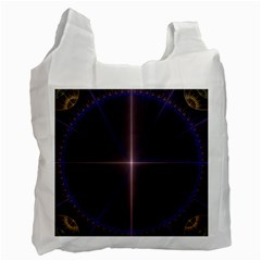 Color Fractal Symmetric Blue Circle Recycle Bag (two Side)