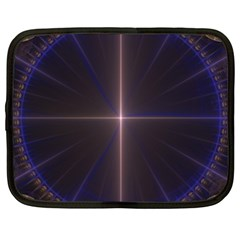 Color Fractal Symmetric Blue Circle Netbook Case (XXL)