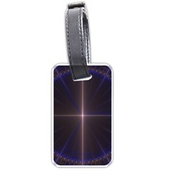 Color Fractal Symmetric Blue Circle Luggage Tags (Two Sides)