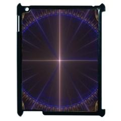 Color Fractal Symmetric Blue Circle Apple iPad 2 Case (Black)