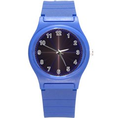 Color Fractal Symmetric Blue Circle Round Plastic Sport Watch (s)