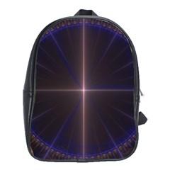 Color Fractal Symmetric Blue Circle School Bags (xl)