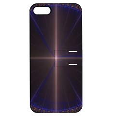 Color Fractal Symmetric Blue Circle Apple iPhone 5 Hardshell Case with Stand
