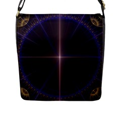 Color Fractal Symmetric Blue Circle Flap Messenger Bag (l)