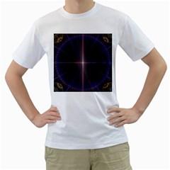 Color Fractal Symmetric Blue Circle Men s T Shirt (white)