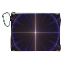 Color Fractal Symmetric Blue Circle Canvas Cosmetic Bag (XXL)