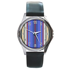Colorful Stripes Background Round Metal Watch