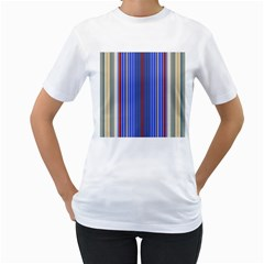 Colorful Stripes Background Women s T Shirt (white) (two Sided)