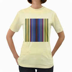 Colorful Stripes Background Women s Yellow T-Shirt