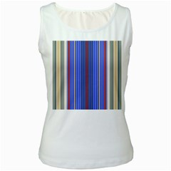 Colorful Stripes Background Women s White Tank Top
