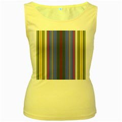 Colorful Stripes Background Women s Yellow Tank Top