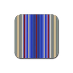 Colorful Stripes Background Rubber Coaster (Square)