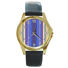 Colorful Stripes Background Round Gold Metal Watch